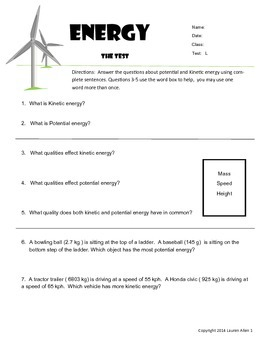 6th grade Energy types,sources,transfer - Reading Low Level