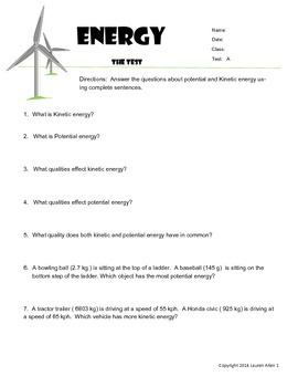 6th grade Energy types,sources,transfer - Reading at or ab