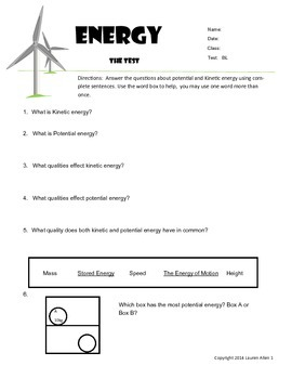 6th grade Energy types,sources,transfer - reading very below Level