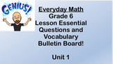 6th grade Everyday Math Unit 1 Essential Questions and Voc
