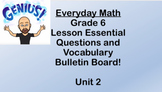 6th grade Everyday Math Unit 2 Essential Questions and Voc