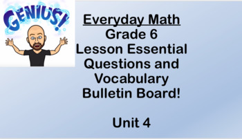 6th grade Everyday Math Unit 4 Essential Questions and Vocabulary Bulletin Board