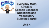 6th grade Everyday Math Unit 4 Essential Questions and Voc