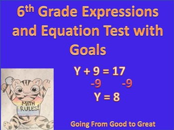 6th grade Expression/Equation Math Test with Goals