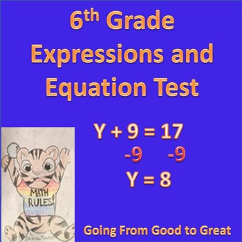 6th grade Expressions/Equations Math Test