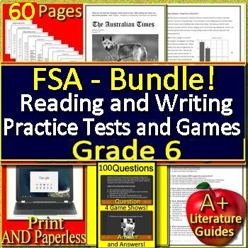 6th grade FSA Writing AND Reading Practice Tests AND Game Show Bundle!