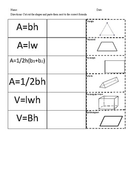 6th grade FSA math formulas review