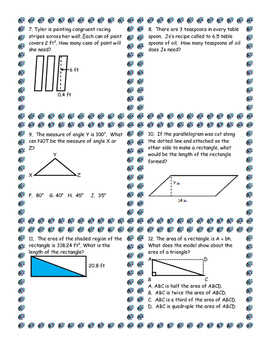 6th grade Geometry and Measurement Review