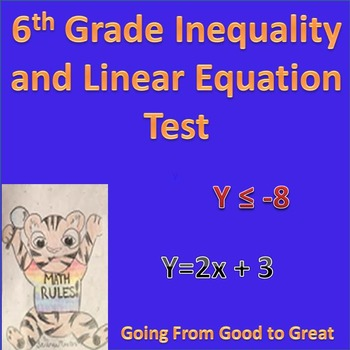 6th grade Inequality/Linear Equation Math Test