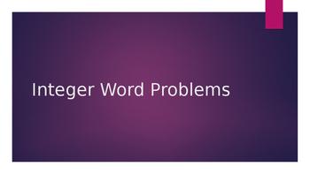 6th grade Integer Word Problems