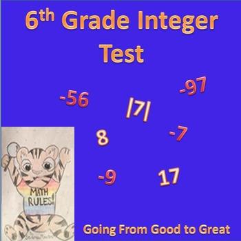 6th grade Integers Test