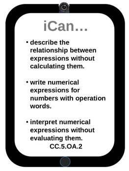 "5th grade Math CCSS ""I Can..."" Statements iPad design"
