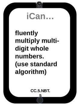 "5th grade Math CCSS ""I Can..."" Statements iPad design"