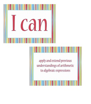 """6th grade """"I Can Statements"""" Math Standard Posters"""