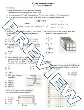 6th grade Math Exam Common Core G 1-4 NS 5-8