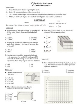 6th grade Math Exam Common Core G 1-4 NS 5-8 PDF