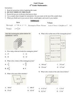 6th grade Math Exam Common Core G 1,2,4 PDF