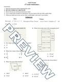 6th grade Math Exam Common Core G 1,2,4