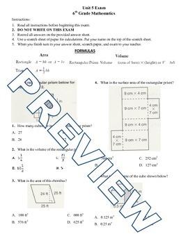 6th grade Math Exam Common Core G 1,2,4