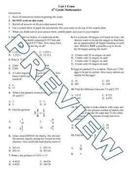 6th grade Math Exam Common Core NS 1-4