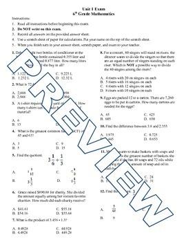 6th grade Math Exam Common Core NS 1-4