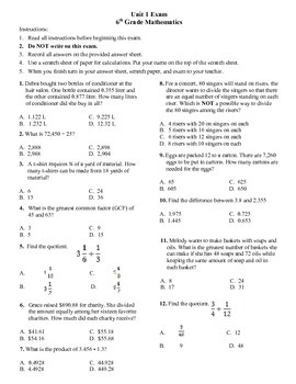 6th grade Math Exam Common Core NS 1-4 PDF