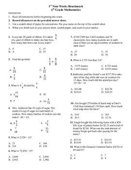 6th grade Math Exam Common Core NS 1-4 RP.1-3 PDF