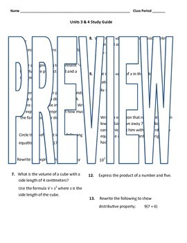 6th grade Math Exam Study Guide EE 1-9
