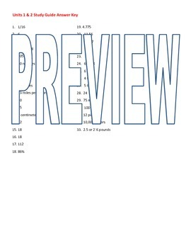 6th grade Math Exam Study Guide NS 1-4 RP.1-3