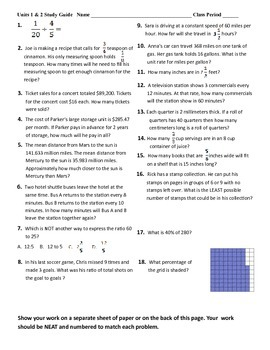 6th grade Math Exam Study Guide NS 1-4 RP 1-3 PDF