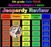 6th grade Math STAAR Test Reporting Category 3 JEOPARDY Game with Sounds & KEY