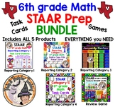 6th grade Math STAAR Test REVIEW Prep BUNDLE Games Task Cards EVERYTHING