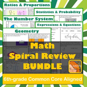 6th-grade Math Spiral Review BUNDLE!
