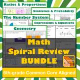 6th grade Math Spiral Review BUNDLE!