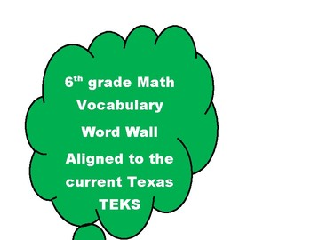 6th grade Math Vocabulary Word Wall Texas TEKS