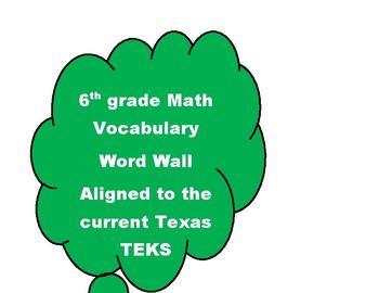 6th grade Math Vocabulary Word Wall Texas TEKS