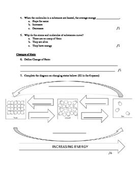 Matter Science Test: 6th grade (NO PREP)