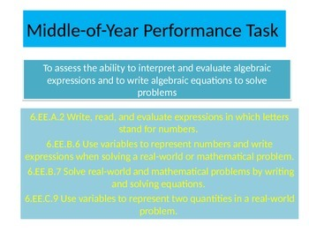 6th grade Mid Year Performance task 2015 version
