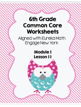 6th grade Module 1 Lesson 11 Worksheet/ Quiz Eureka Math Tables