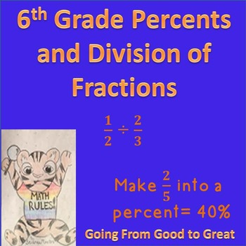 6th grade Percent/Division of Fractions Math Test