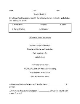 6th grade Poetry Quiz