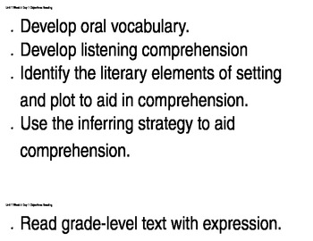 6th grade Reading Street Unit 1, Week 2 Learning Objectives