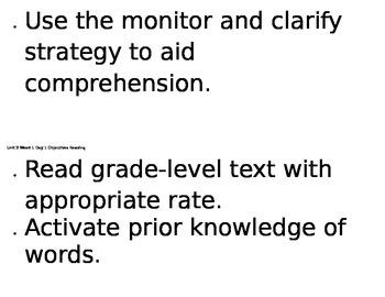 6th grade Reading Street Unit 2, Week 1 Objectives