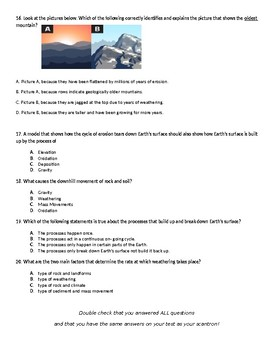 6th grade Science Unit Test- Earth Structures