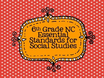6th grade Social Studies Essential Standards Posters - Red/White Polka