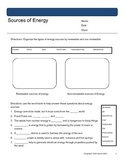 6th grade Sources of energy worksheets