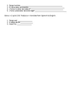 6th grade Spanish test