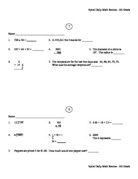 6th grade Spiral Daily Math Review {ALL YEAR]