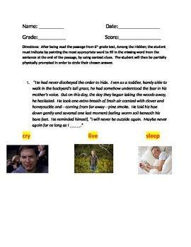 6th grade Text Context Clues Assessment