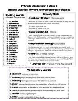 6th grade Wonders Study Guide Unit 1-5